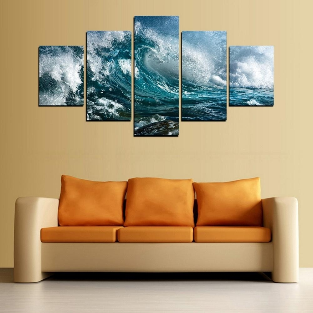 2018 Canvas Print Blue Wave Painting For Living Room Wall Art for 5 Piece Wall Art (Image 2 of 20)