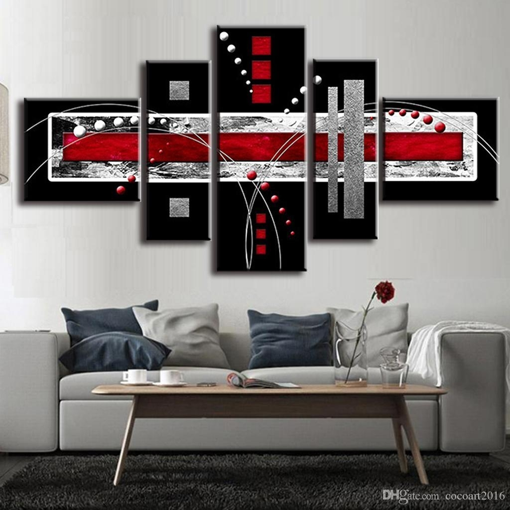 2018 Combined Abstract Canvas Art Red Black Grey Canvas Wall Picture Throughout Gray Canvas Wall Art (Gallery 10 of 20)