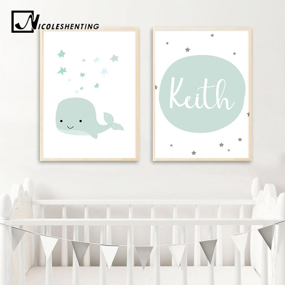 2018 Custom Name Poster Baby Nursery Wall Art Canvas Painting With Regard To Nursery Wall Art (Photo 19 of 20)