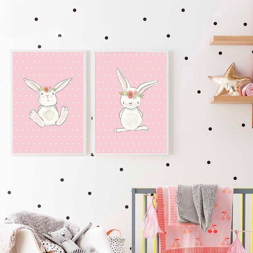 2018 Cute Pink Rabbit Bunny Wall Art Canvas Posters Cartoon Animal Inside Bunny Wall Art (Photo 5 of 20)