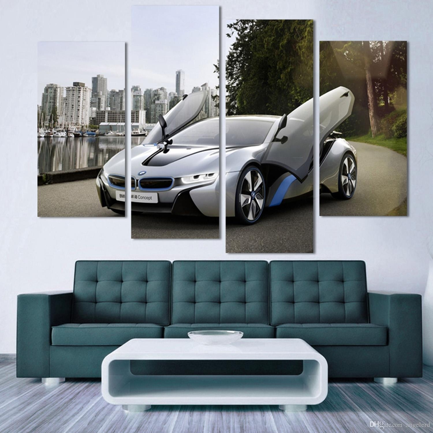 2018 Fashion Sport Car Canvas Prints Painting Decoration For Bed regarding Car Canvas Wall Art (Image 4 of 20)