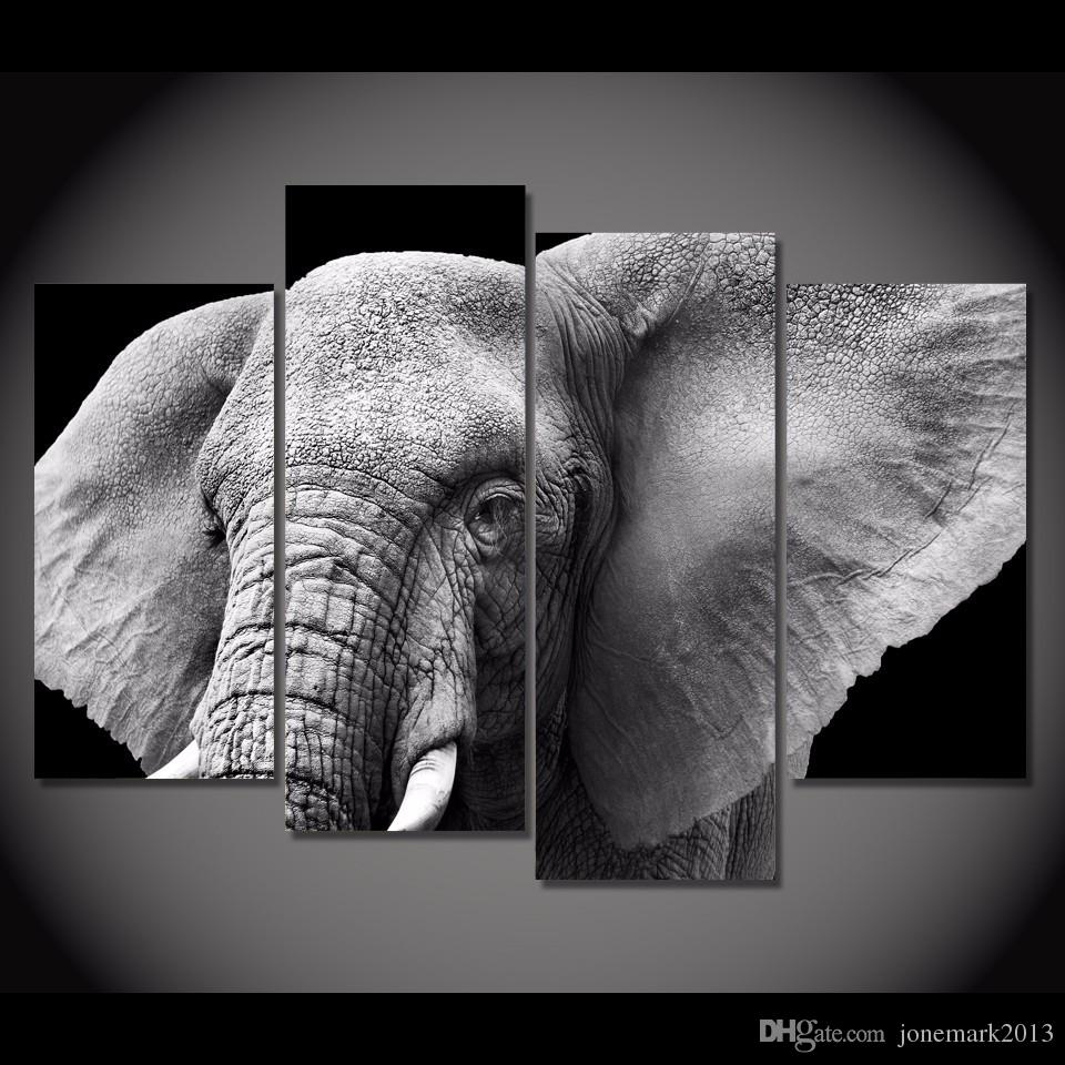 2018 Framed Hd Printed Black White Elephant Tusks Ear Picture Wall Intended For Elephant Canvas Wall Art (Gallery 7 of 20)