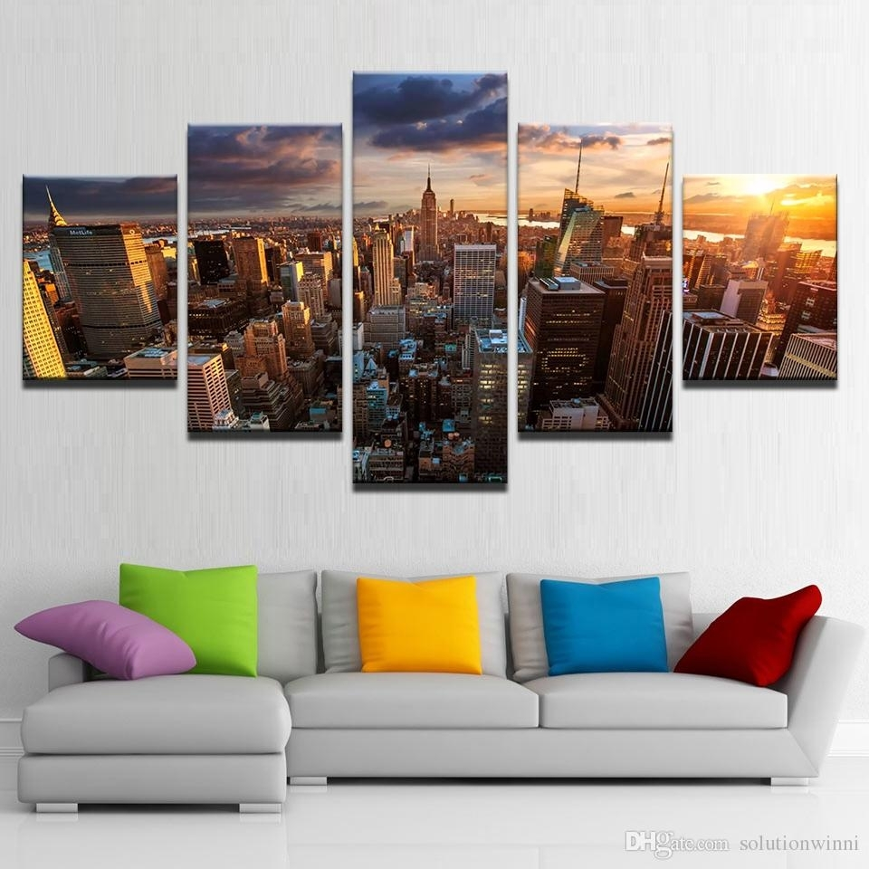 2018 Framed Printed New York City Building Sunset Landscape Poster Intended For New York Canvas Wall Art (View 12 of 20)