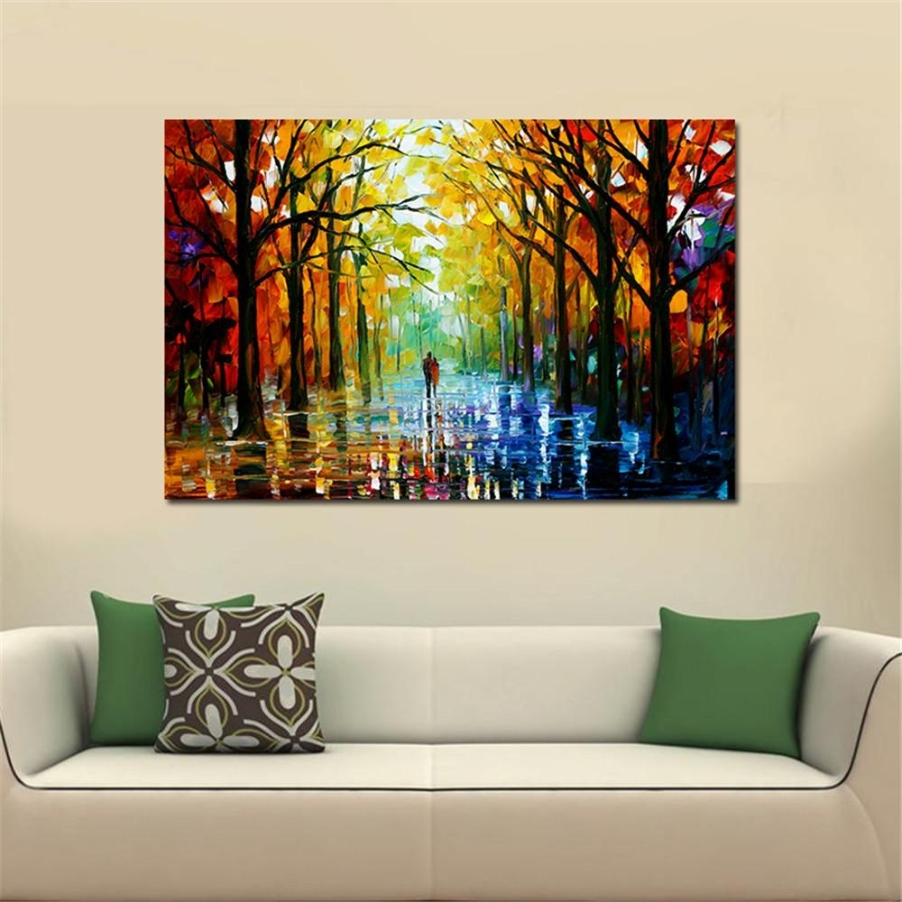 2018 Frameless Huge Wall Art Oil Painting On Canvas Forest Road Wall Intended For Huge Wall Art (View 8 of 20)