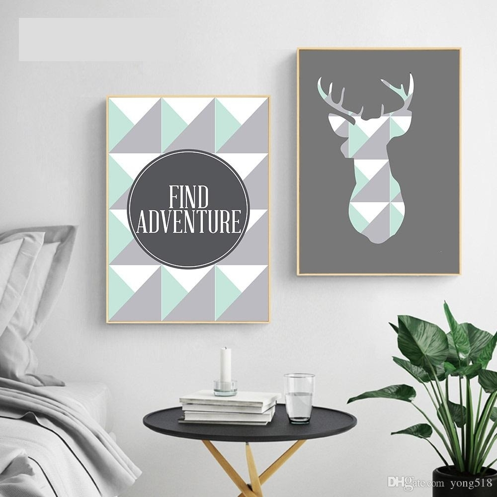 2018 Geometric Deer Arrow Wall Art A4 Canvas Posters Prints Nordic pertaining to Arrow Wall Art (Image 1 of 20)