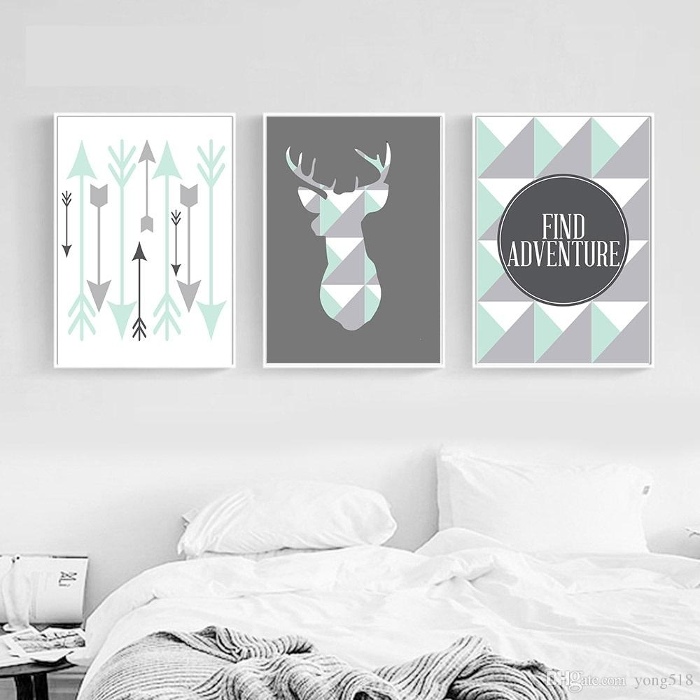 2018 Geometric Deer Arrow Wall Art Canvas Posters Prints Nordic within Arrow Wall Art (Image 2 of 20)