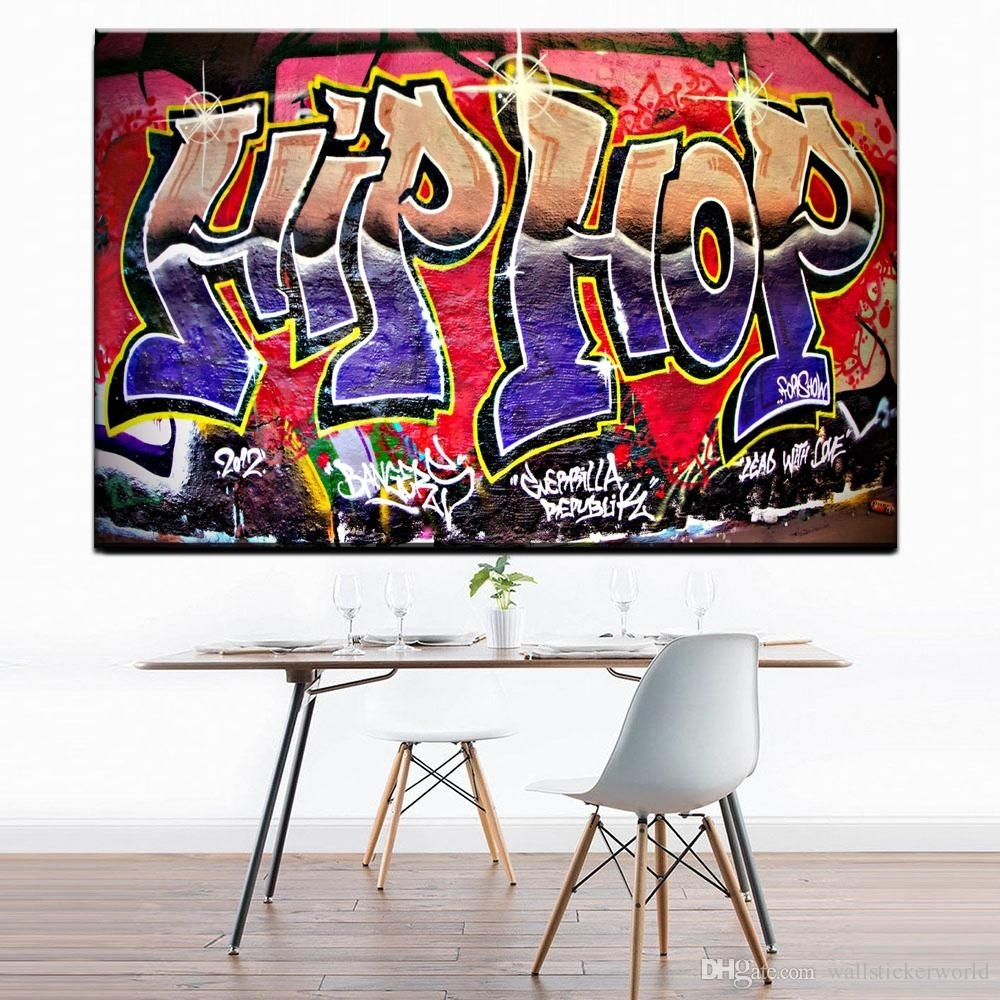 2018 Graffiti Street Art Hip Hop Paintings On Canvas Modern Wall Intended For Hip Hop Wall Art (Gallery 12 of 20)