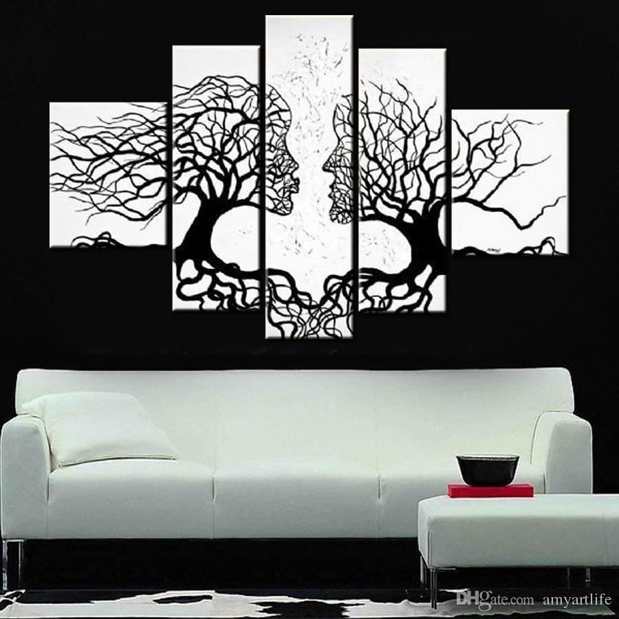 2018 Hand Painted Black White Canvas Wall Art Modern Designed Oil intended for Black And White Canvas Wall Art (Image 1 of 20)