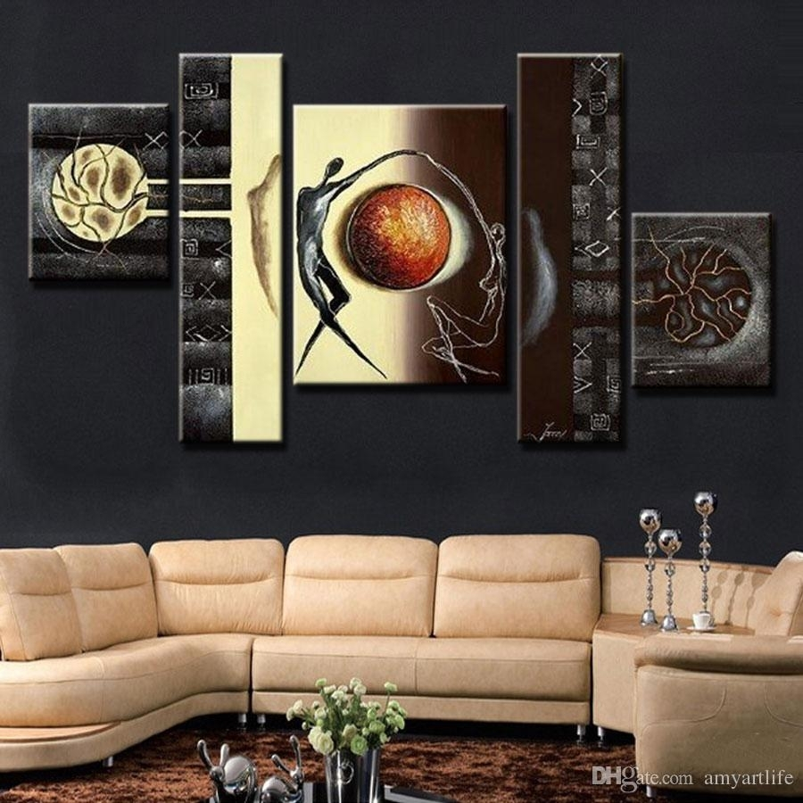 2018 Hand Painted Canvas Oil Painting Abstract Canvas Wall Art Home Throughout Abstract Canvas Wall Art (Gallery 18 of 20)