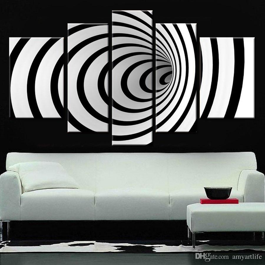 2018 Hand Painted Ideas Modern Canvas Art Picture Future Wall Art 3D In Black And White Wall Art (Photo 4 of 20)
