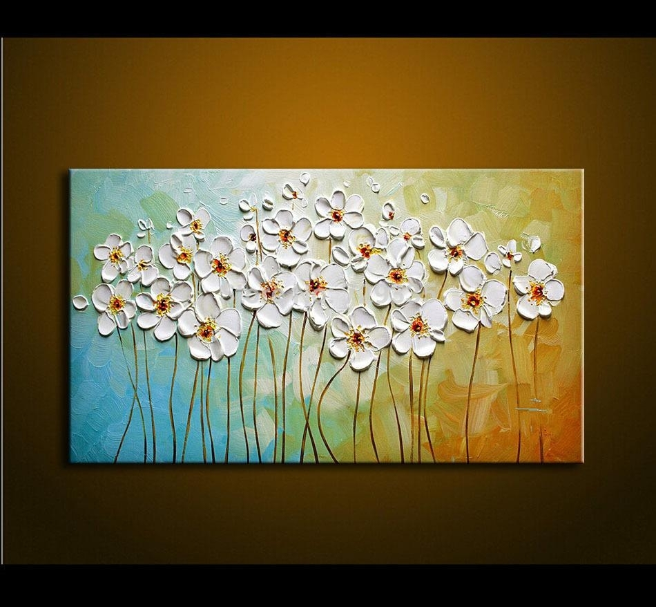 2018 Hand Painted Textured Palette Knife White Flowers Oil Painting Pertaining To Modern Canvas Wall Art (Gallery 14 of 20)