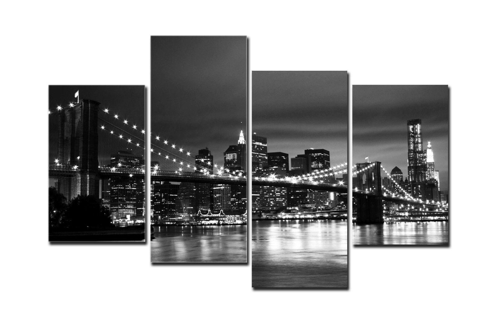 2018 Hd Canvas Print Home Decor Wall Art Painting New York Bridge No Within New York Wall Art (Gallery 2 of 20)