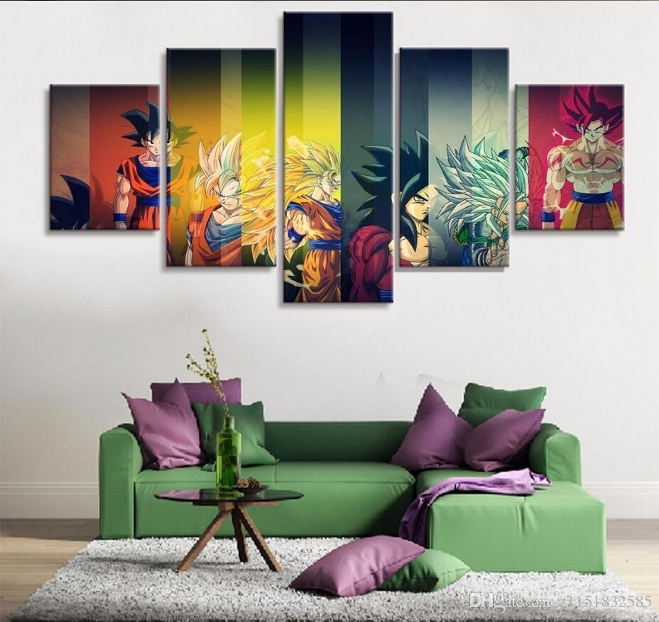2018 Hd Print Painting Dragon Ball Z Goku Growth Paintings On Canvas With Dragon Wall Art (Photo 17 of 20)