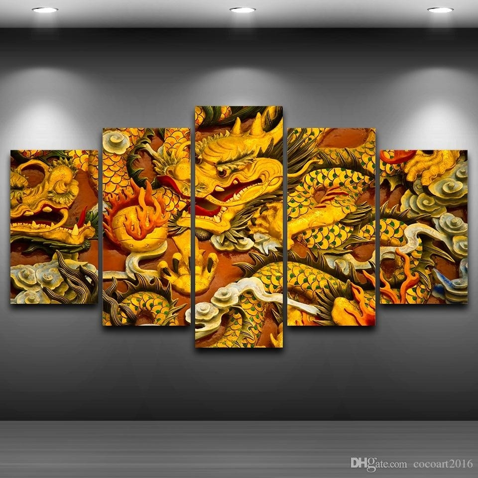 2018 Hd Printed Canvas Art Chinese Dragon Canvas Painting Wall Regarding Dragon Wall Art (Gallery 7 of 20)