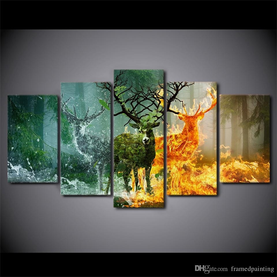 2018 Hd Printed Canvas Art Deer Canvas Painting Nature Forest Wall Regarding Wall Canvas Art (Photo 18 of 20)