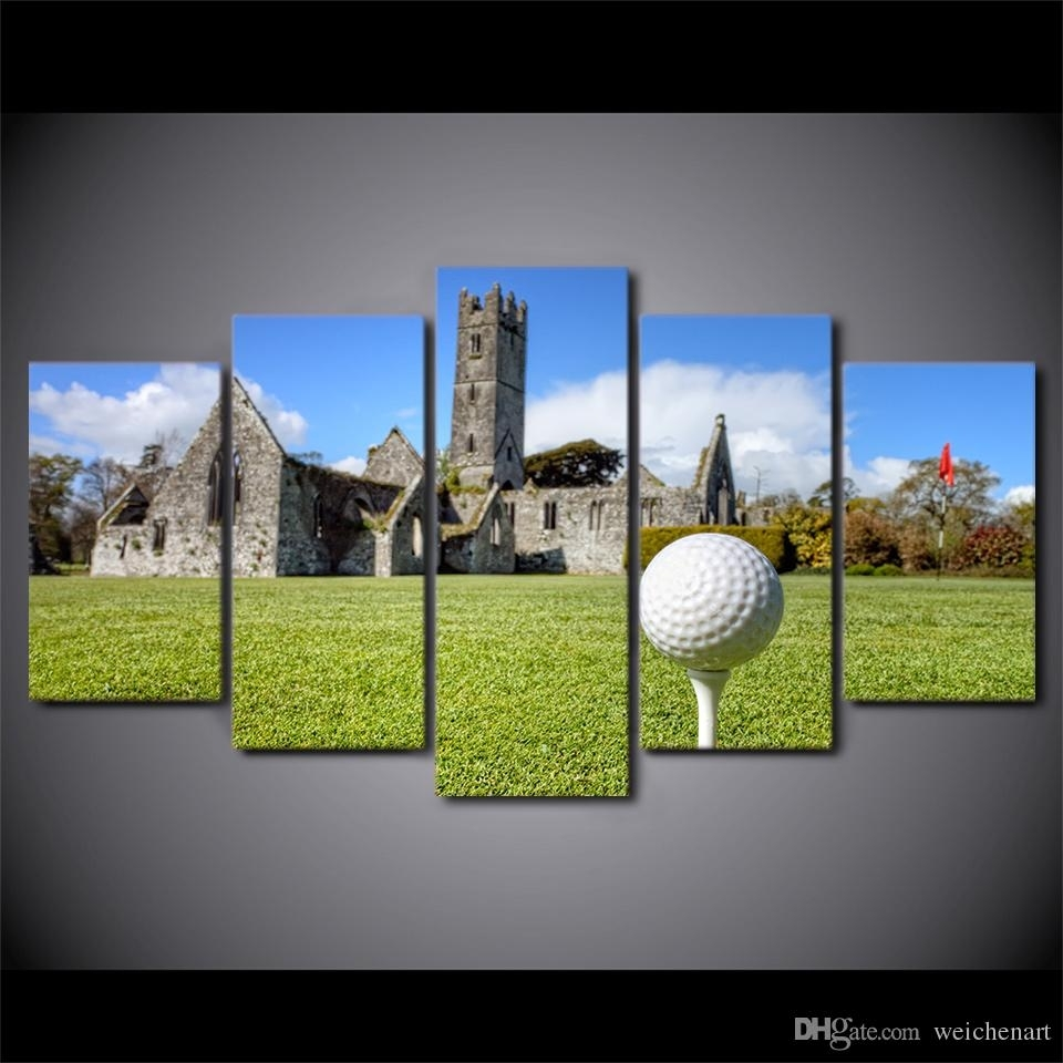 2018 Hd Printed Canvas Art Golf Course Painting House On Hills Wall In Golf Canvas Wall Art (View 13 of 20)