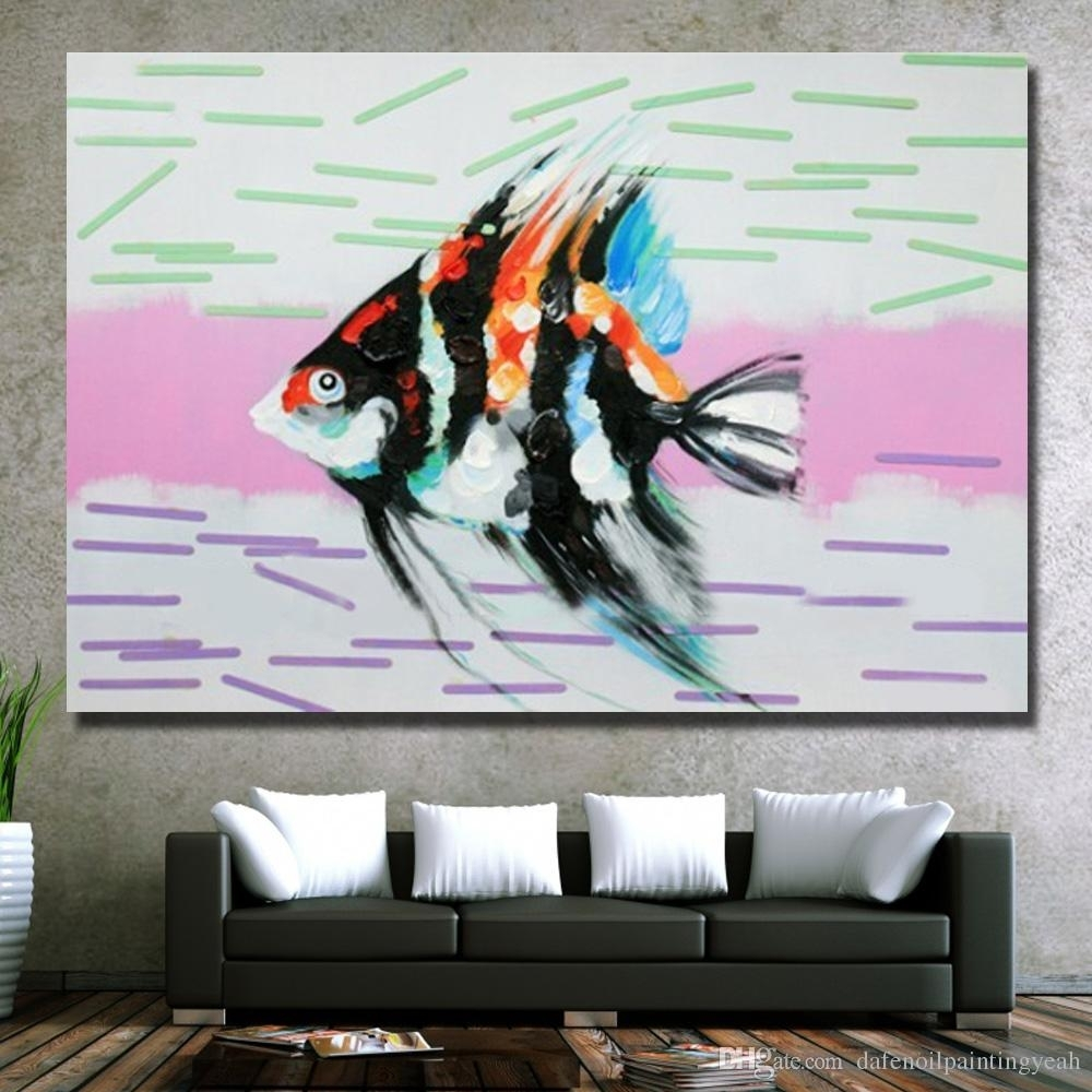 2018 Home Wall Art Pictures For Living Room Decoration Hand Painted For Fish Painting Wall Art (Gallery 13 of 20)