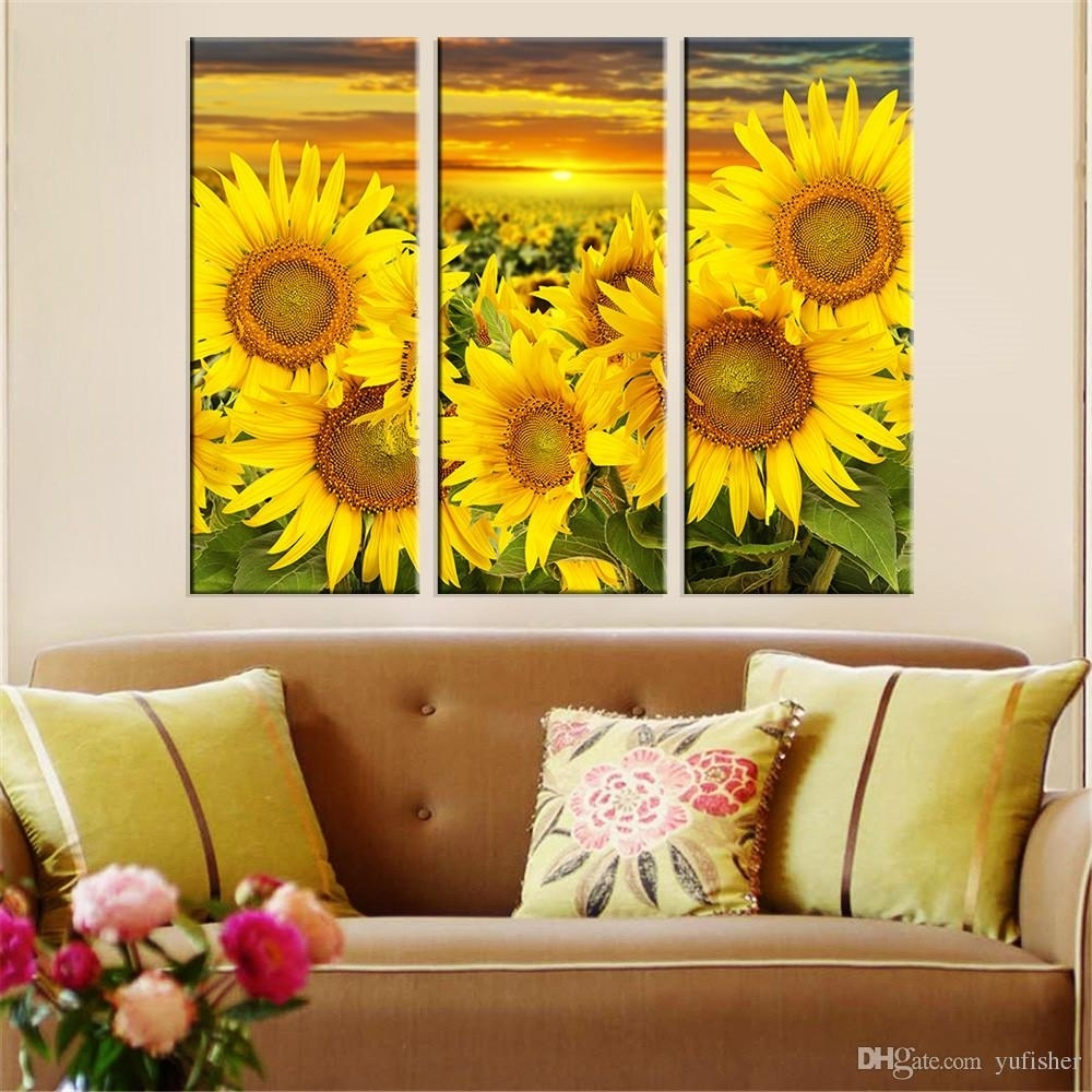 2018 Hot Canvas Prints Flower Sunflower Wall Art Painting Modern with Sunflower Wall Art (Image 1 of 20)