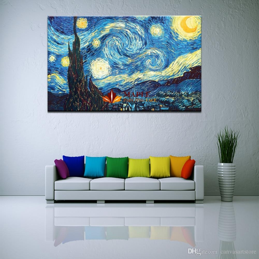 2018 Huge Canvas Wall Art Starry Nightvincent Van Gogh Giclee With Huge Wall Art (Photo 1 of 20)