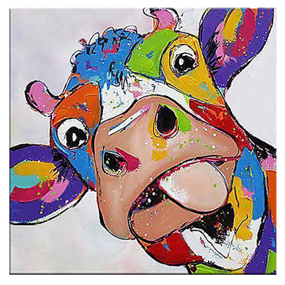 2018 Kagree Colorful Cow Head Painting Cute Animal Paintings Funny Regarding Cow Canvas Wall Art (View 1 of 20)