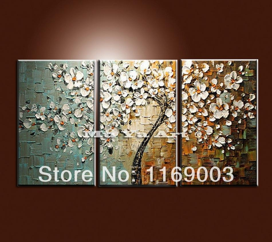 2018 Large 3 Panel Wall Art Abstract White Flower Tree Of Life pertaining to 3 Piece Wall Art (Image 1 of 20)