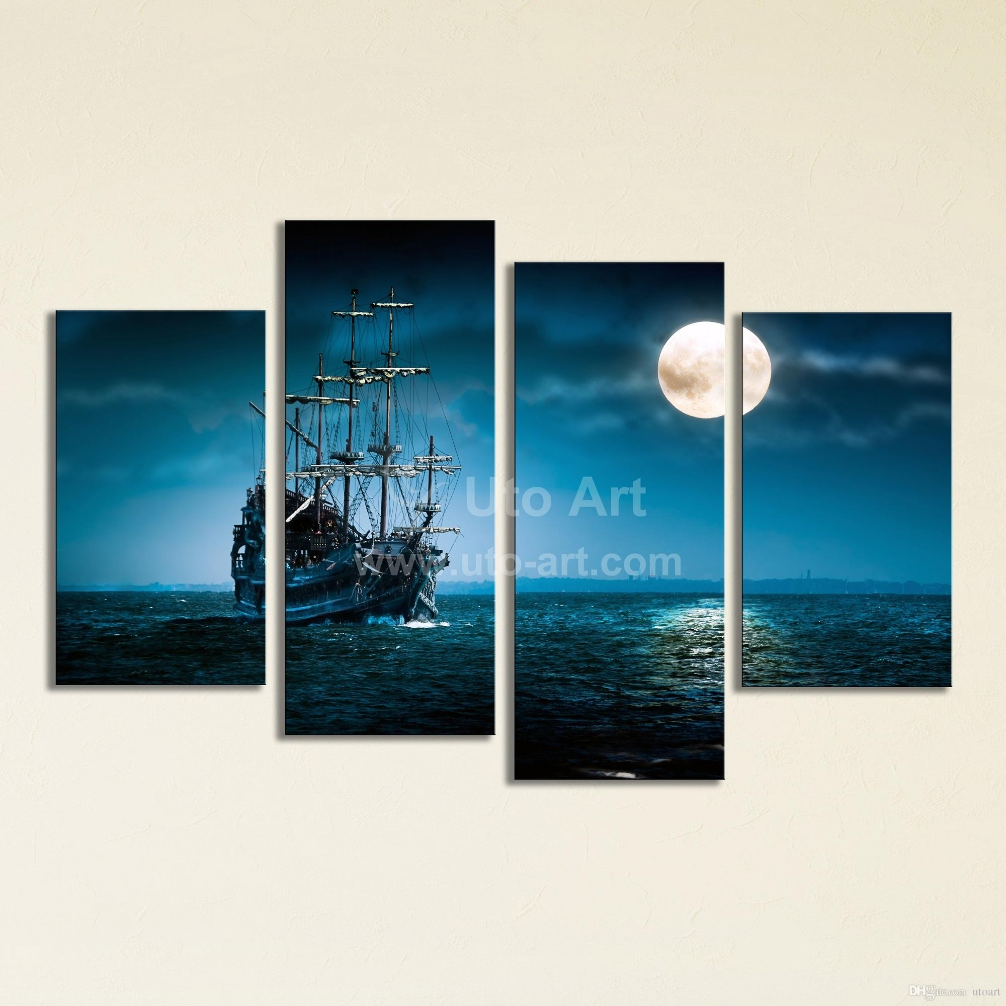 2018 Large 4 Panel Wall Art Painting Sailing Ship Canvas Wall Inside Panel Wall Art (Gallery 12 of 20)