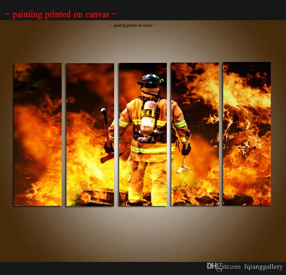 2018 Large 5 Panel Set Hd Printed Firefighter Canvas Print Poster With Firefighter Wall Art (Photo 12 of 20)