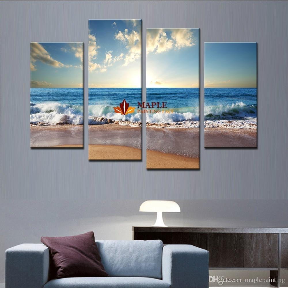 2018 Large Canvas Art Wall Hot Beach Seascape Modern Wall Painting Regarding Large Canvas Wall Art (Photo 7 of 20)