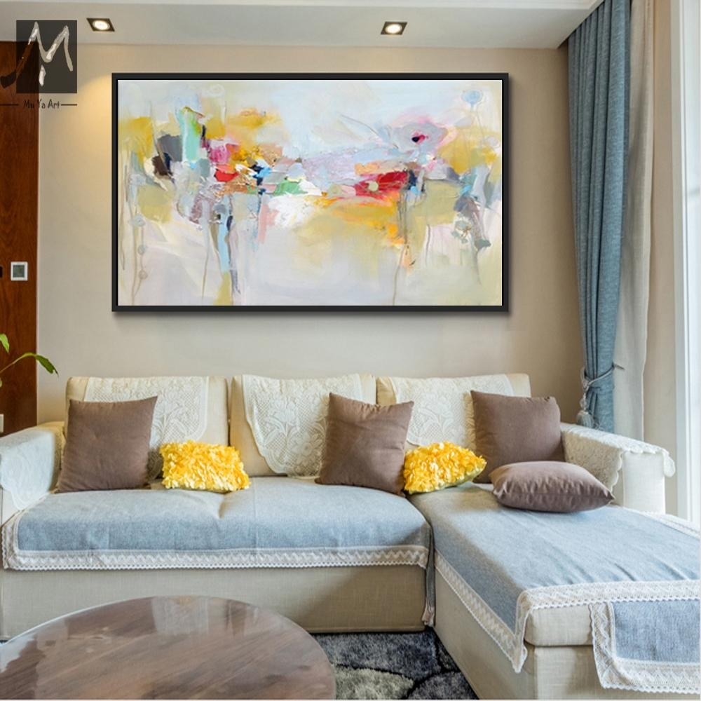 2018 Large Canvas Wall Art Acrylic Painting Modern Paintings Wall Inside Modern Large Canvas Wall Art (Photo 9 of 20)