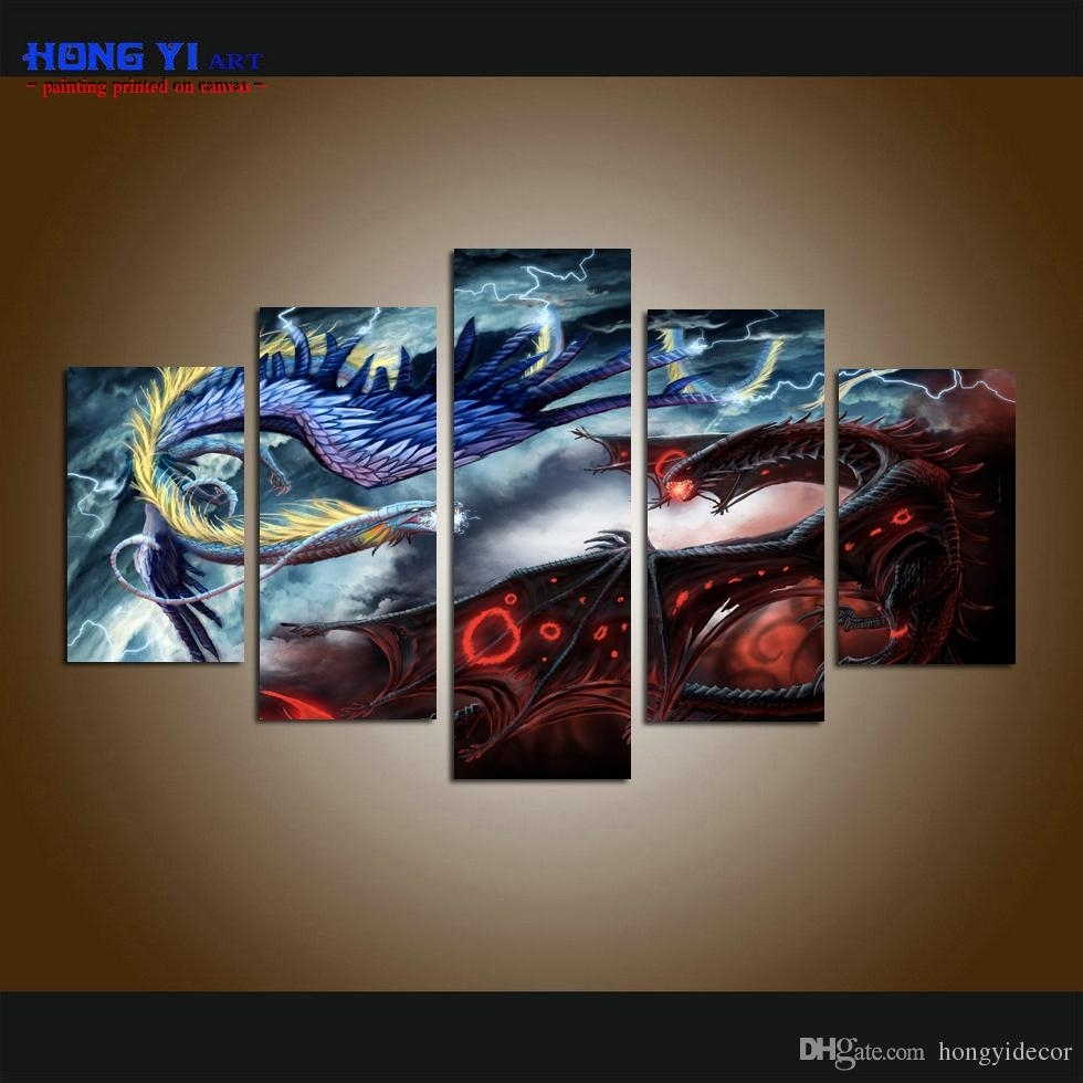 2018 Large Home Decor Canvas Print Art Painting Wall Art Cartoon With Five Piece Canvas Wall Art (Gallery 7 of 20)