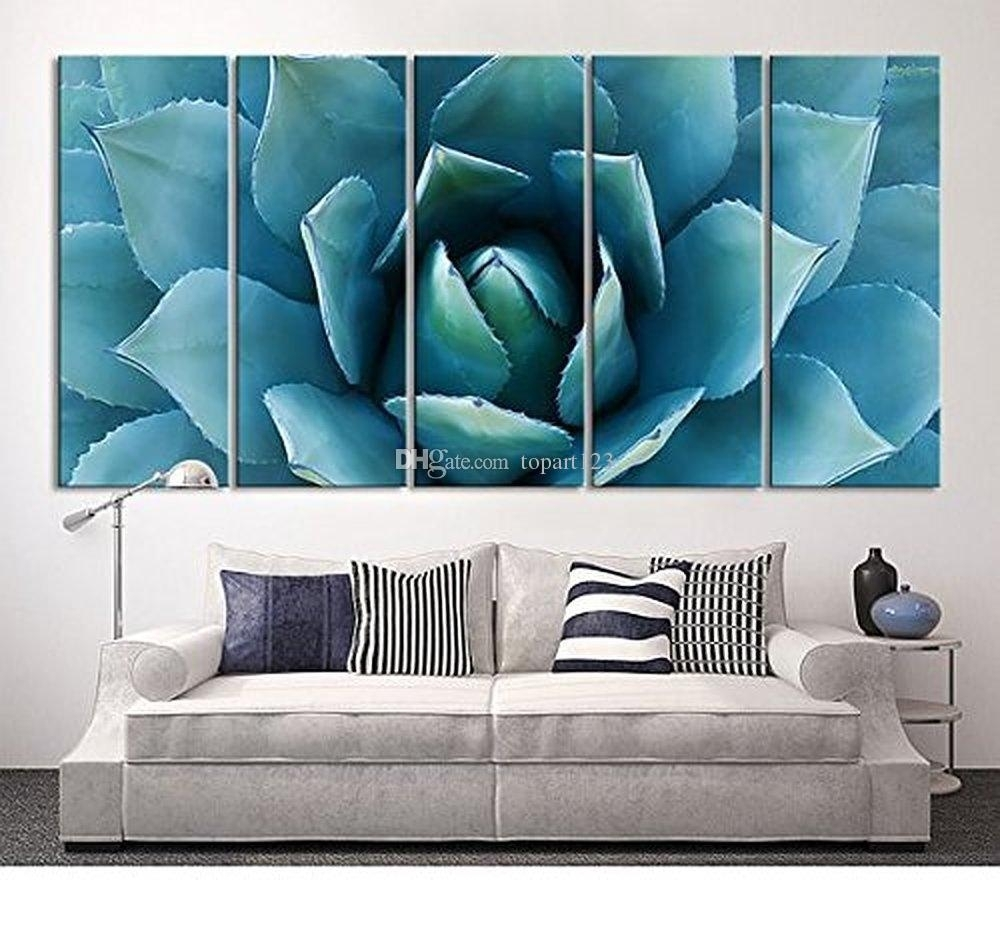 2018 Large Wall Art Blue Agave Canvas Prints Agave Flower Large Art Regarding Large Canvas Painting Wall Art (Photo 1 of 20)