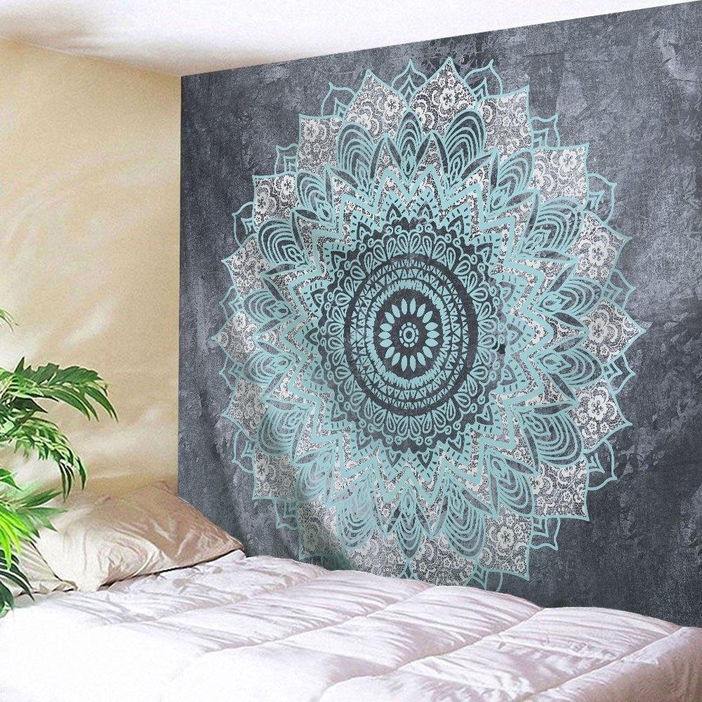 2018 Mandala Wall Art Hanging Beach Throw Tapestry Gray W Inch L regarding Mandala Wall Art (Image 1 of 20)