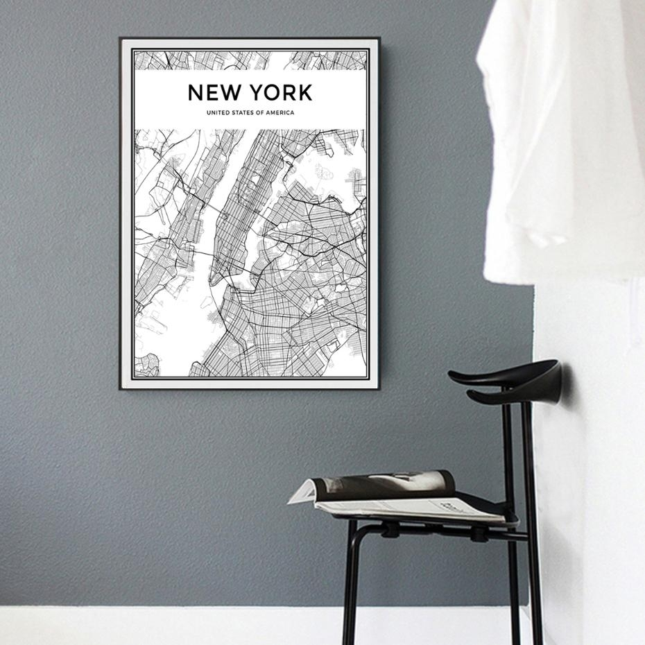 2018 Minimalist New York City Map Canvas Painting Black And White For New York City Map Wall Art (View 5 of 20)