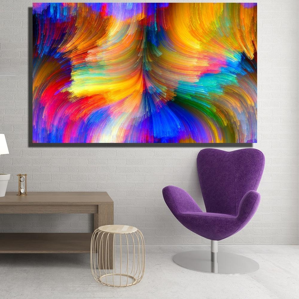 2018 Modern Canvas Prints Oil Painting Abstract Abstract Bright pertaining to Modern Canvas Wall Art (Image 3 of 20)