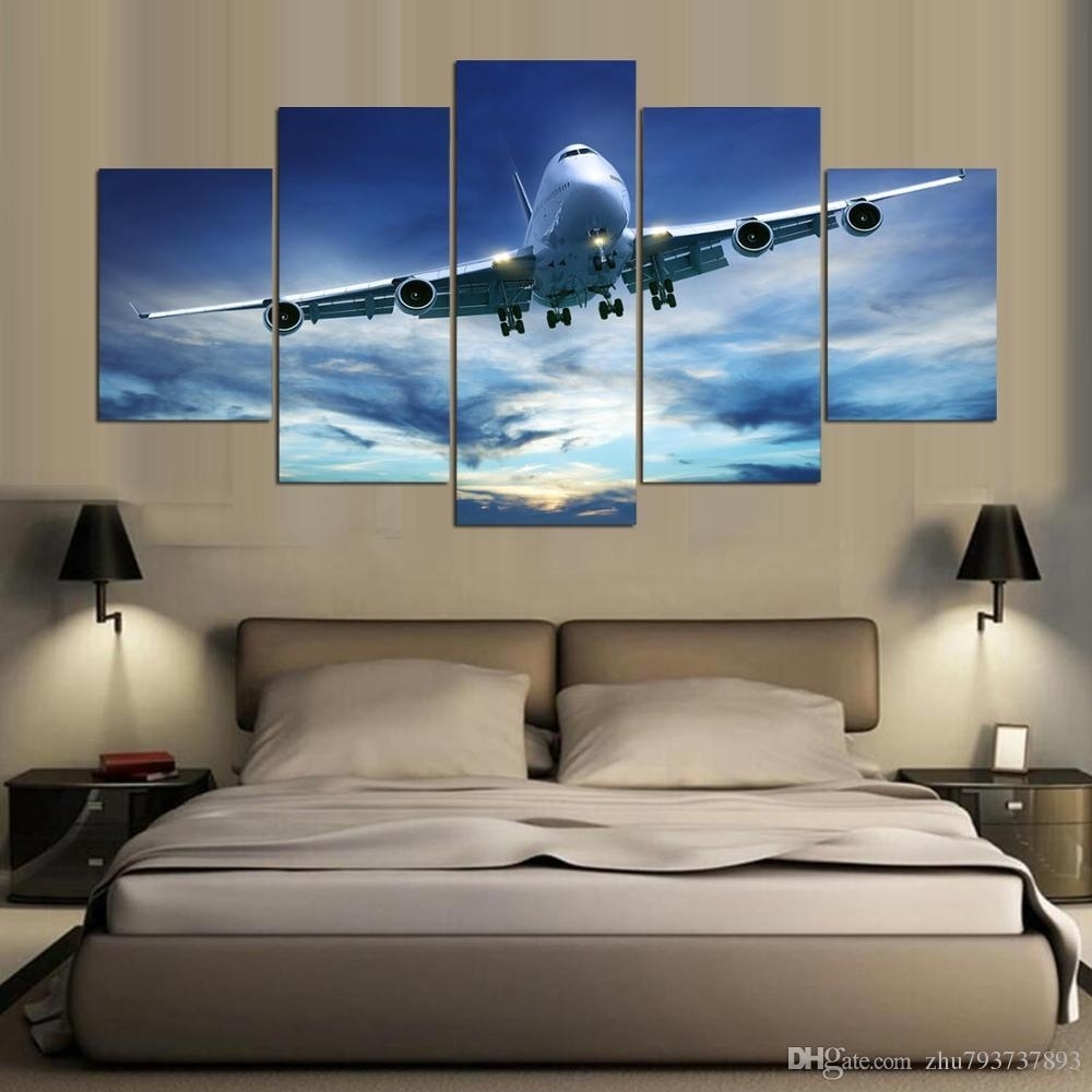 2018 Modular Hd Prints Blue Sky Aircraft Poster Canvas Wall Art throughout Airplane Wall Art (Image 4 of 20)