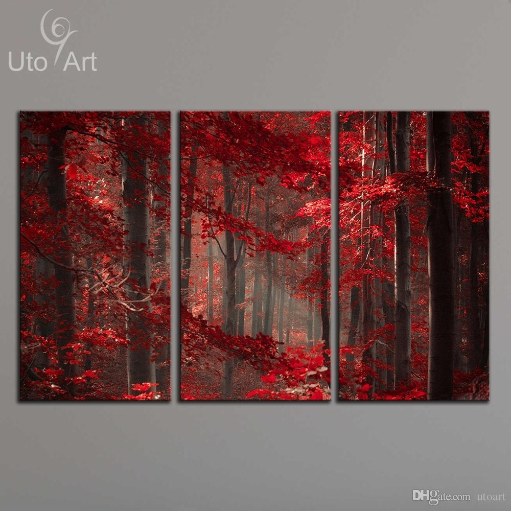 2018 Morden 3 Panel Wall Art Painting Red Enchanted Forest Giclee Inside Wall Art Panels (Photo 4 of 20)
