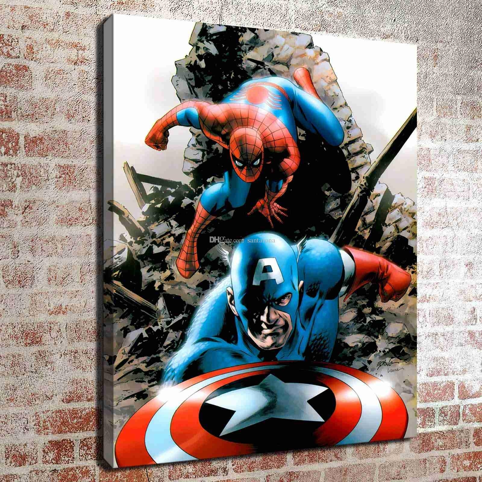 2018 No Frame Spiderman And Captain America Hd Canvas Print Wall Art In Captain America Wall Art (Photo 10 of 20)
