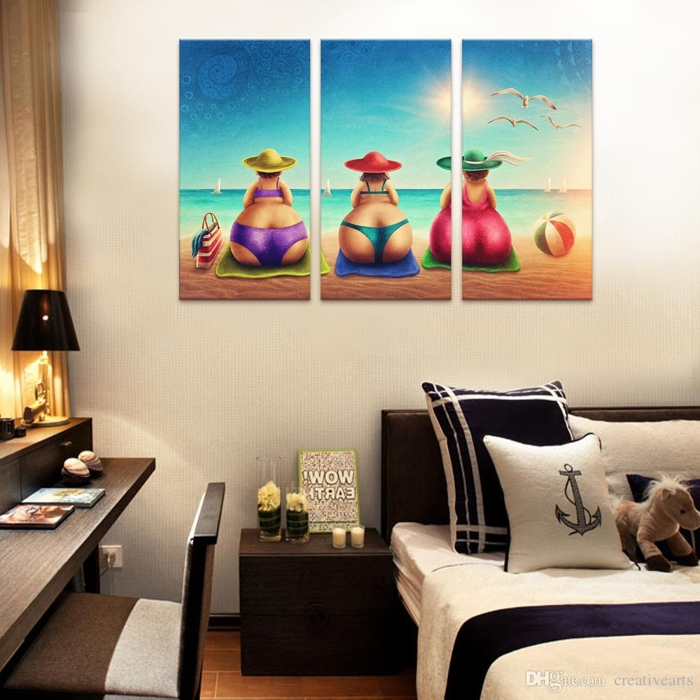 2018 No Framed Wall Art Fat Lady On Beach Canvas Art Painting Bikini Intended For Framed Wall Art (Gallery 17 of 20)