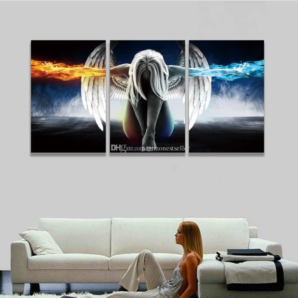 2018 Printed 3 Panel Canvas Wall Art Angel Wings Painting Beautiful inside 3 Piece Canvas Wall Art (Image 2 of 20)