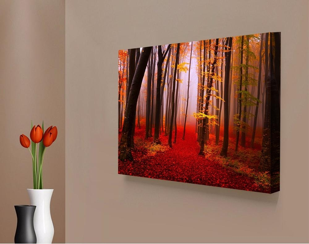 2018 Red Forest Landscape Giclee Print Canvas Wall Art For Home with regard to Red Canvas Wall Art (Image 3 of 20)