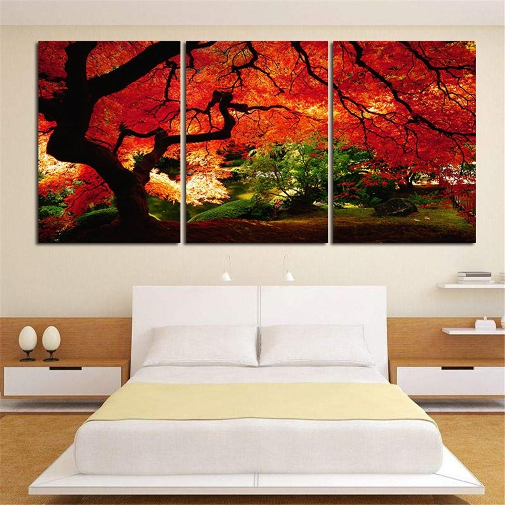 2018 Red Maple Trees 3 Panel Art Giclee Canvas Prints Artwork Modern with regard to 3 Piece Canvas Wall Art (Image 3 of 20)