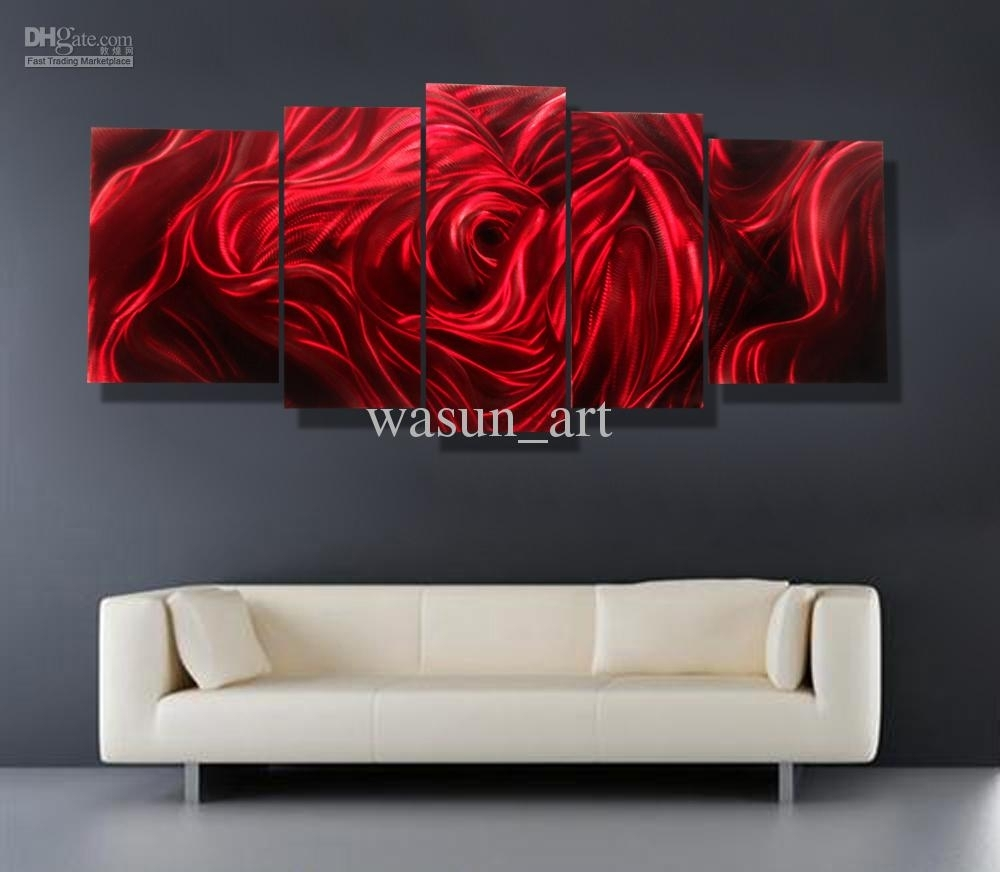 2018 Red Rose Modern Contemporary Abstract Painting,metal Wall Art Within Red Wall Art (Photo 16 of 20)