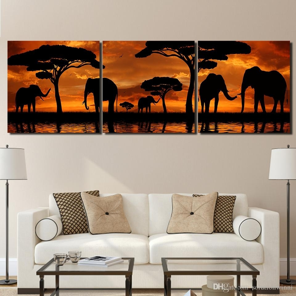 2018 Sunset African Elephant Canvas Paintings Home Decor Wall Art Throughout Elephant Canvas Wall Art (Photo 9 of 20)