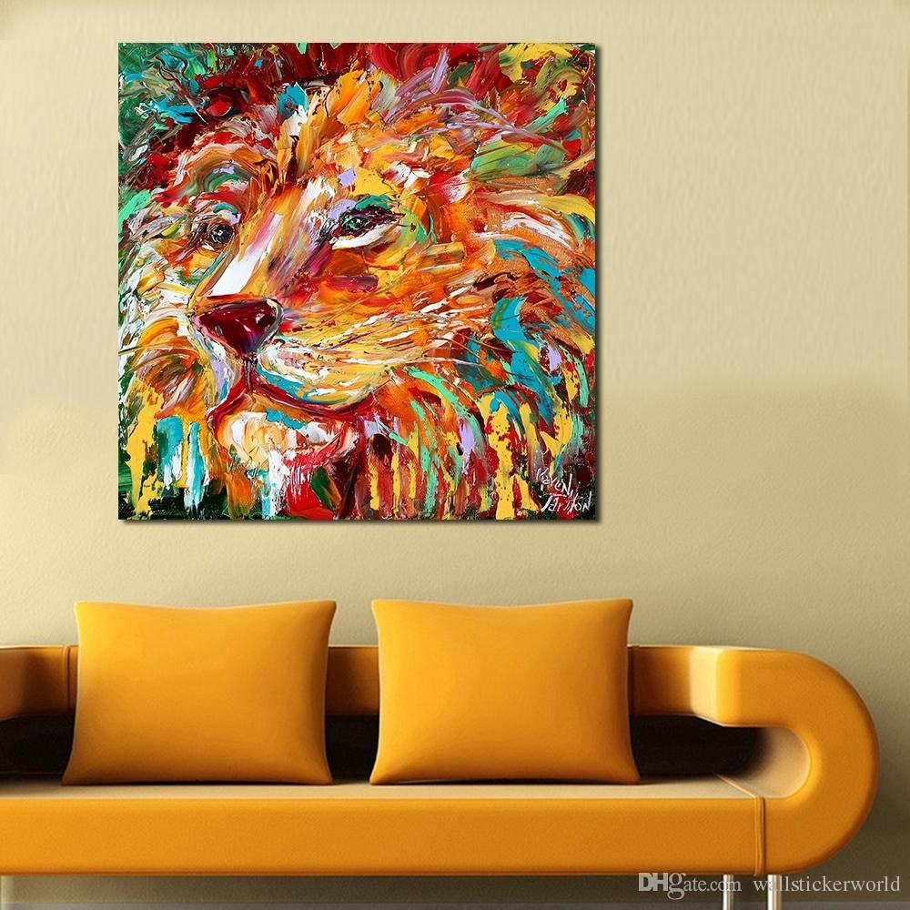 2018 The Colorful Lion King Painting Wall Art Home Decor Modern In Lion King Wall Art (Photo 10 of 20)