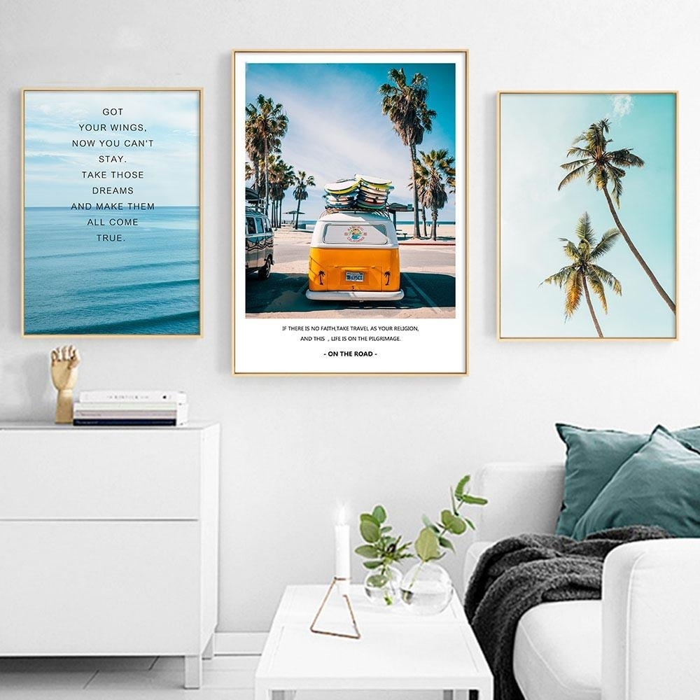 2018 Tropical Sea Palm Tree Wall Art Canvas Painting Travel pertaining to Palm Tree Wall Art (Image 1 of 20)