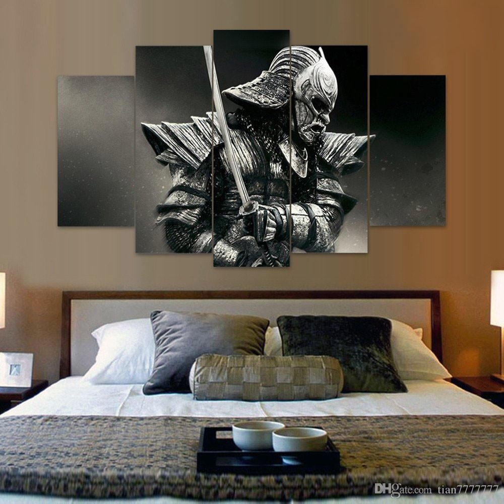 2018 Unframed 5 Panel Samurai Canvas Painting Fashion Home Decor With Living Room Wall Art (Gallery 5 of 20)