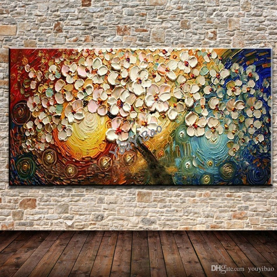 2018 Unframed Handpainted On Canvas Wall Art Abstract Modern Acrylic Regarding Canvas Wall Art Sets (Gallery 14 of 20)