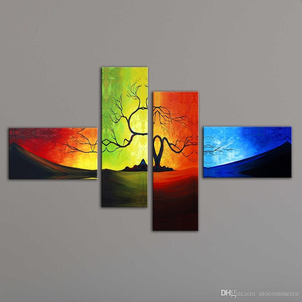 2018 Unstretched Modern Living Room Wall Decor Canvas Abstract In 4 Piece Wall Art (Gallery 3 of 20)