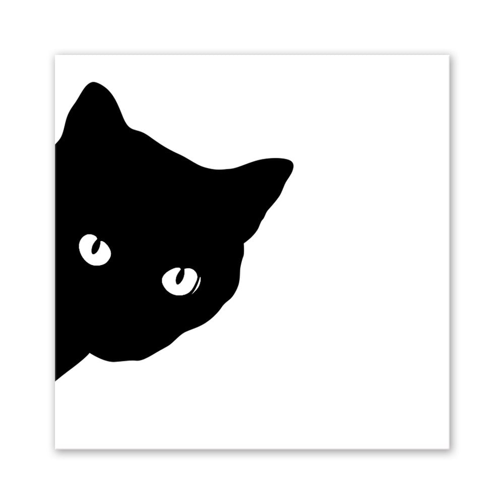 2018 W031 Black Cat Unframed Art Wall Canvas Prints For Home intended for Cat Canvas Wall Art (Image 1 of 20)