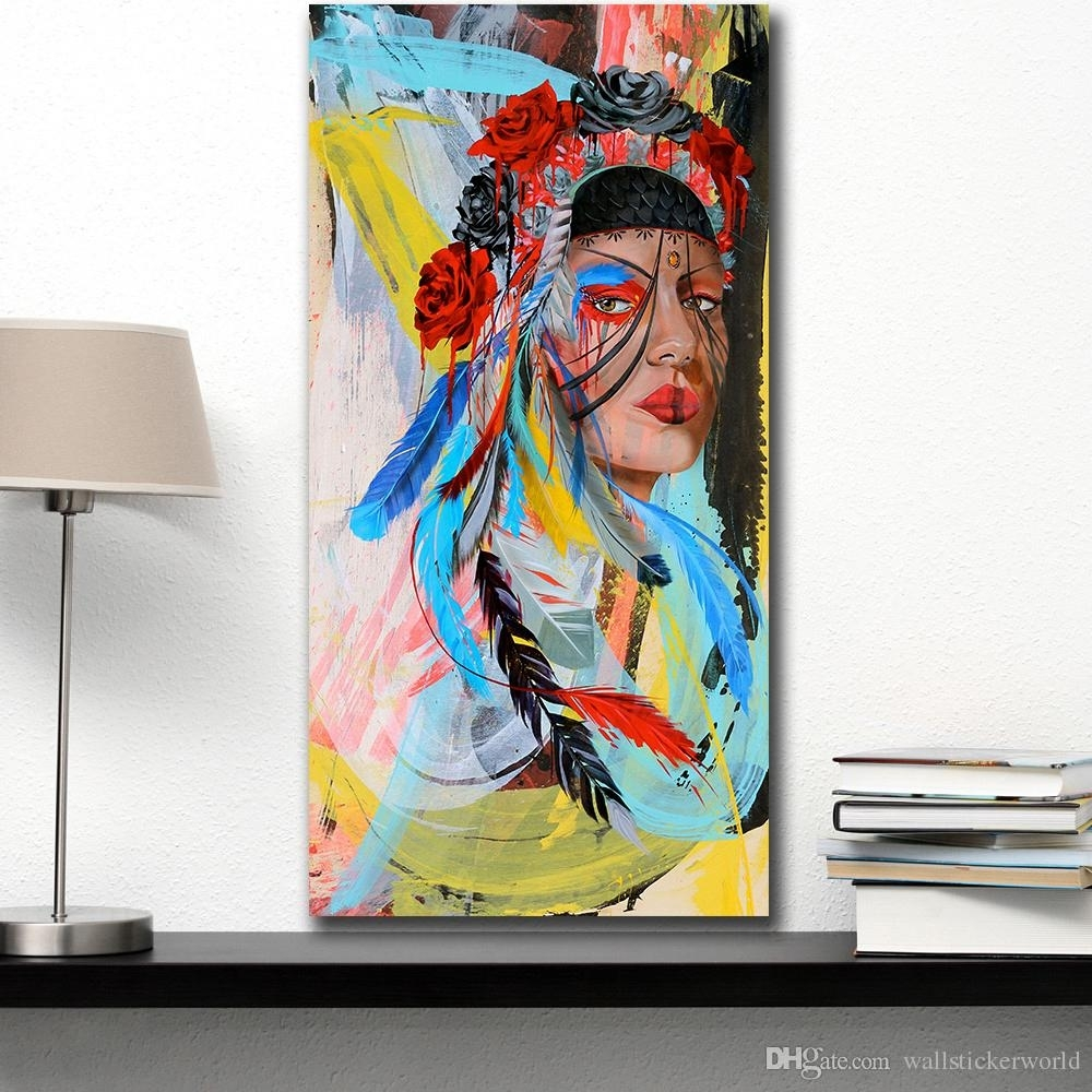 2018 Wall Art Beauty Native American Indian Girl Home Decor On Pertaining To Native American Wall Art (View 4 of 20)